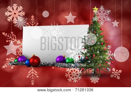 Composite image of poster with christmas tree against red snow flake pattern design