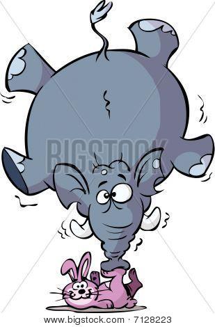 rabbit is balancing a big elephant