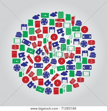 Data Storage Media Icons In Color Circle Eps10