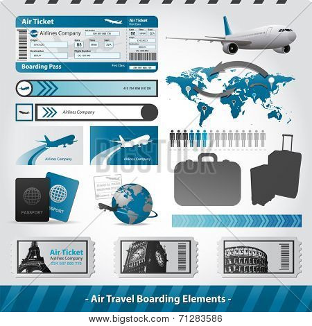 Vector air travel design elements flight boarding