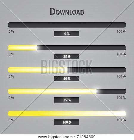 Yellow Lights Internet Download Bars Set Eps10