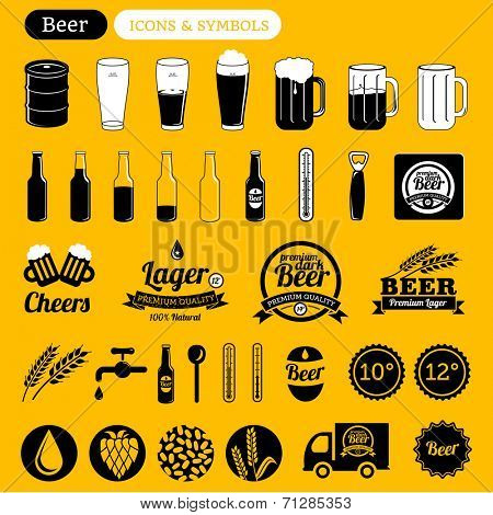 vector beer icons set, signs, labels & design elements - black & white on yellow