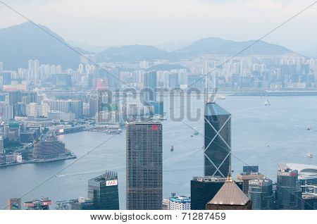 Hongkong,Hongkong-July 4,2014:the view of city and sea in Hongkong
