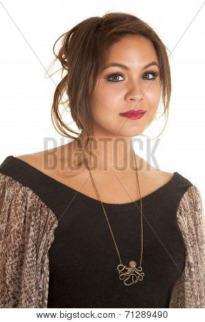 Woman Wearing A Octupus Necklace