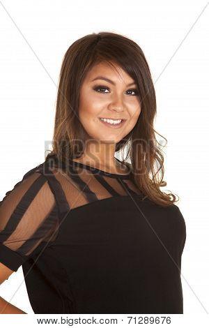 Woman Smile Black Top Sheer