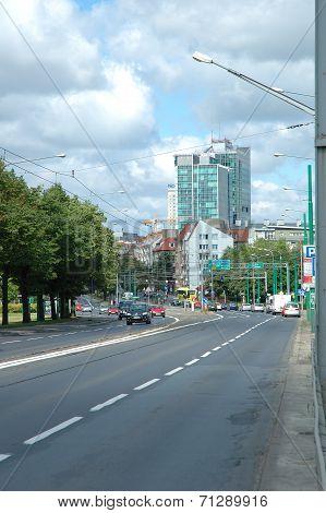 Krolowej Jadwigi Street In Poznan, Poland