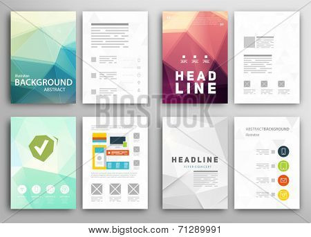 Set Of Flyer Brochure Design Templates Geometric Triangular