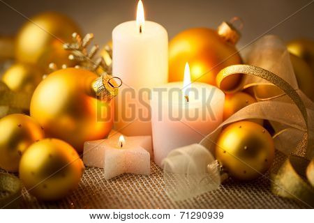 Christmas candles background with baubles and ribbons - horizontal card