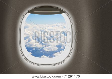 Airplane or jet window, travel and tourism concept.