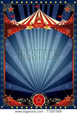 Fun night circus poster. A background with a large copy space and a big top for your message.