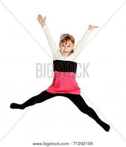 playful little girl jumping