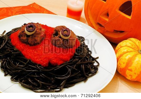 Halloween monster spaghetti