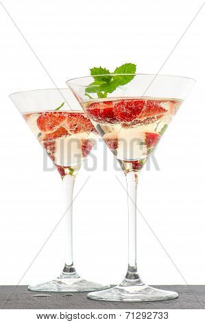 Strawberry Cocktail In Martini Glass Isolated On White