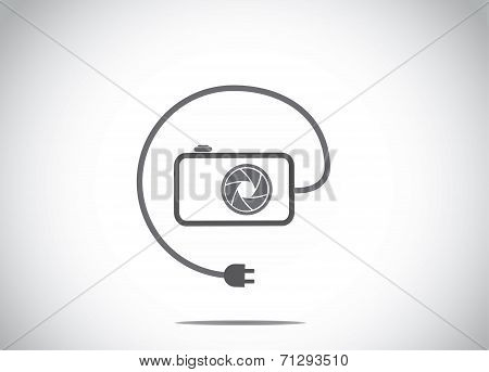 Simple Digital Camera Shutter & Connected Wire With Charger Plug Icon. Photography Equipment Concept