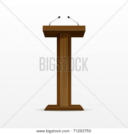 Wood Podium Tribune Rostrum Stand with Microphones