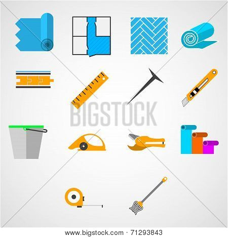 Colored flat vector icons for working with linoleum
