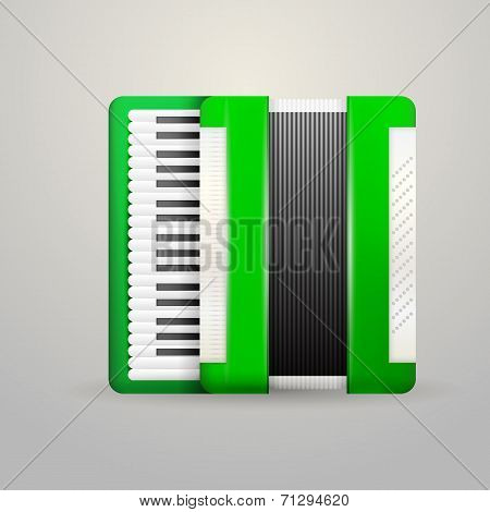 Vector illustration of green accordion