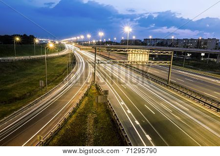 The Ring Road Interchange In St. Petersburg At Evening Illumination
