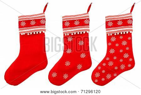 Red Christmas Sock With White Snowflakes For Santa Gifts