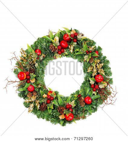 Christmas Wreath With Red And Golden Decoration