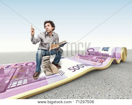 3d image of rolling euro carpet and man with book