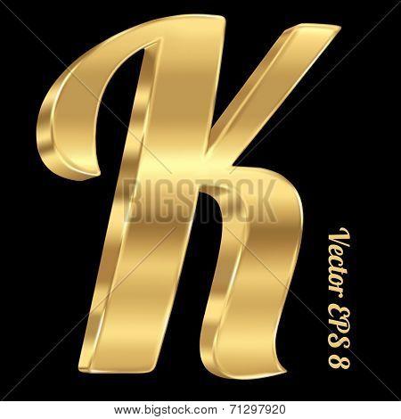 3d golden vector alphabet letter K. Vintage font, eps 8