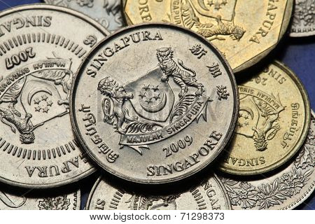Coins of Singapore. National coat of arms of Singapore depicted in Singapore cent coins.