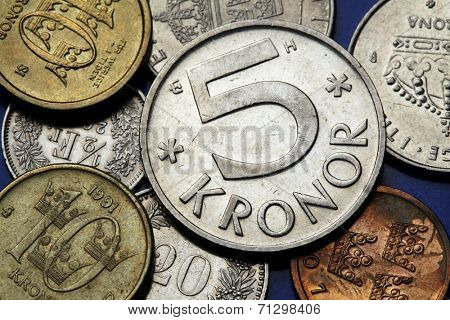 Coins of Sweden. Swedish five and ten kronor coins.