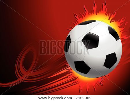 Blazing Soccer Ball On Red Background