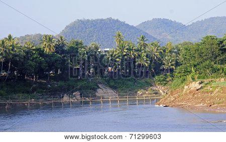 Bamboo Bridge In The Center Of Luang Prabang