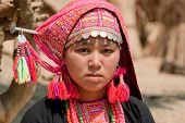 foto of hmong  - Hmong woman from Laos portrait in traditional national costume - JPG