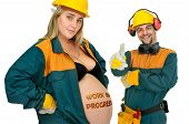 picture of jumpsuits  - Pregnant couple in worker - JPG