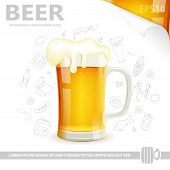 stock photo of drawing beer  - Beer Poster with Glass of Beer Sheet of White Paper and Hand Drawing Icon vector isolated on white background - JPG