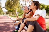 picture of bottle water  - Young Hispanic brunette and her friend drinking water from a bottle after their workout - JPG