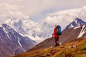 stock photo of siberia  - Hiker near Belukha Mountain the highest in Siberia - JPG