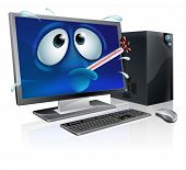 stock photo of malware  - Broken cartoon desktop computer cartoon of a poorly computer with a bursting thermometer in its mouth - JPG