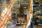 image of prudential center  - Aerial view of Boston Trinity Church at night - JPG