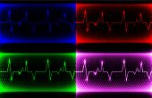 image of electrocardiogram  - set Colorful human heart normal sinus rhythm - JPG