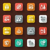 image of junk food  - Flat icons in a square with long shadow about fast food and junk food - JPG