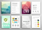 Set of Flyer, Brochure Design Templates. Geometric Triangular Abstract Modern Backgrounds. poster