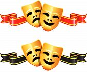 image of comedy  - Comedy And Tragedy Theater Masks Original Vector Illustration - JPG