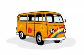 picture of hippies  - Colorful vintage hippie van - JPG