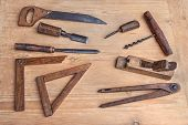 pic of auger  - vintage woodworking hand tools of an ancient carpentry  - JPG