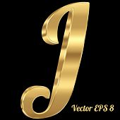 picture of letter j  - 3d golden vector alphabet letter J - JPG