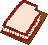 stock photo of fancy cakes  - Hand drawn fancy sheet cake with missing slice - JPG