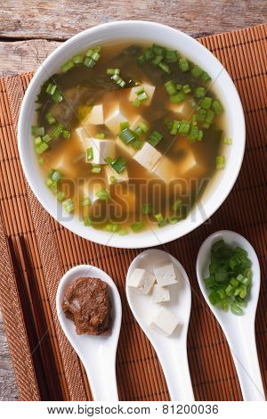 Japanese Miso Soup And Ingredients. Top View Vertical