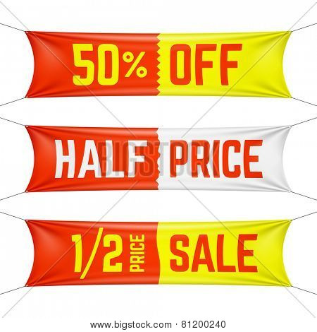 Half price textile banners. Vector.