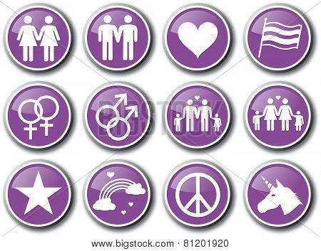 Gay homosexuality purple icon set