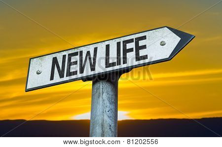 New Life sign with a sunset background
