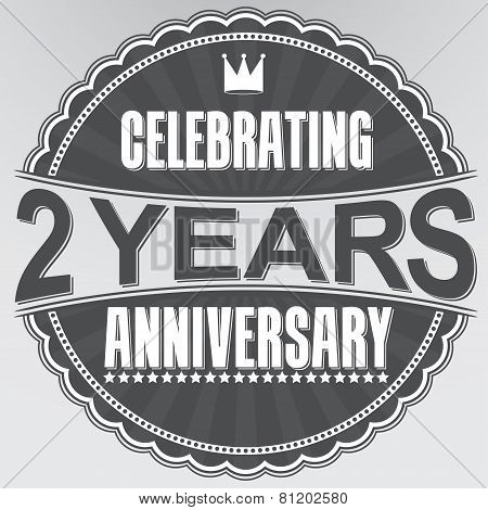 Celebrating 2 Years Anniversary Retro Label, Vector Illustration
